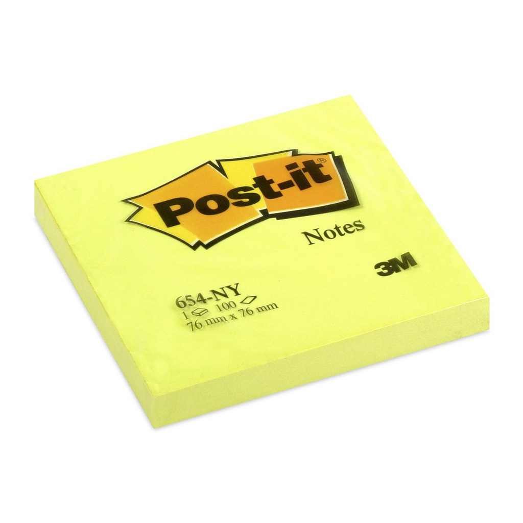 Blok samoljepljivi  76x76mm 100 listova 3M Post-it 654NY neon žuti-0