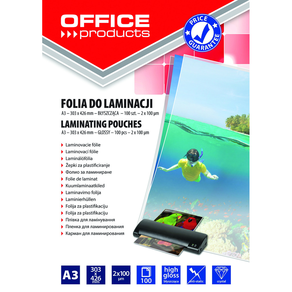 Folija za plastificiranje A3 100mic 100/1 sjajna Office products-0